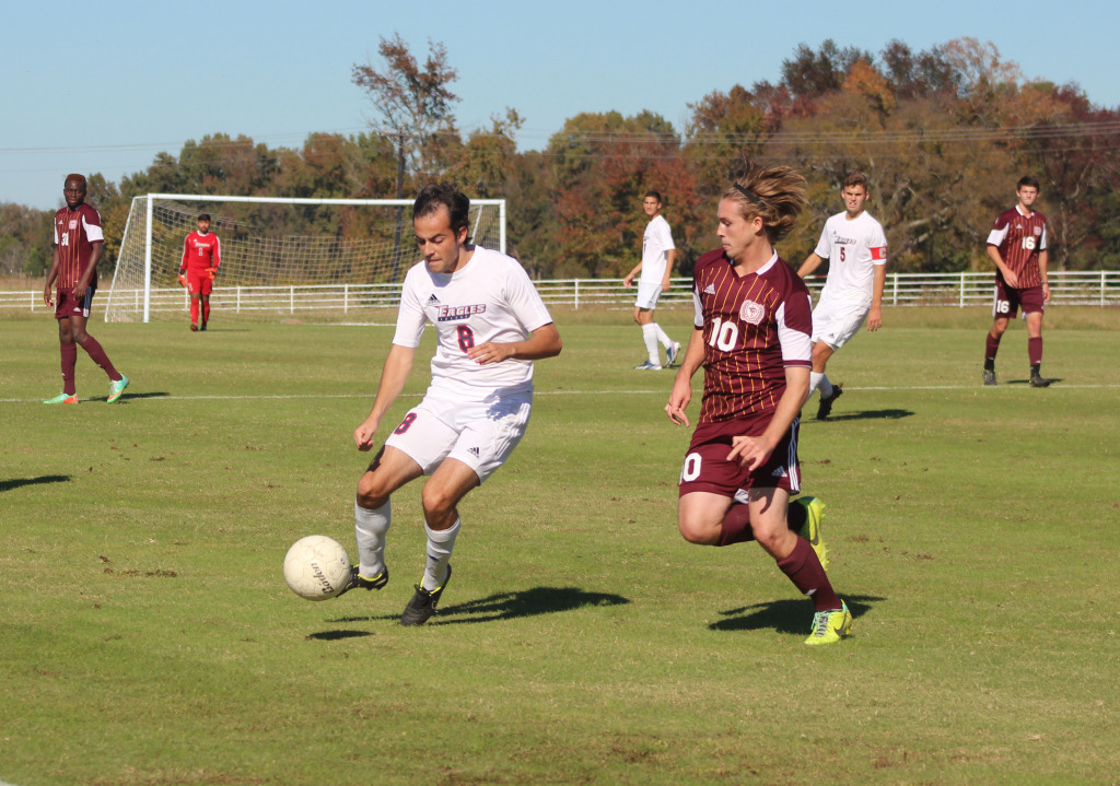 Eagles' player Gabriel Cavalcante controls the ball during the second playoff game against Pearl River Community College.