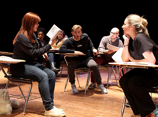 Theatre Northeast students read through the Gooney Bird Greene and Her True Life Adventures script during a recent practice for the upcoming play. The production will be the last children's play directed by Doug Hoppock.