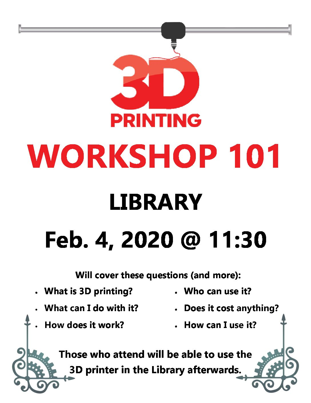 3D printer workshop to be held in Learning Commons